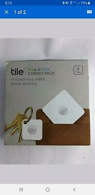 NEW Combo 4 Pack Tile Slim & Mate White Bluetooth Tracker Finder