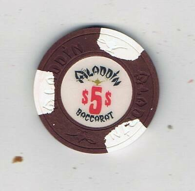 Aladdin Las Vegas - $5 Baccarat Casino Chip  - 1980 House Mold - Book $200-$250