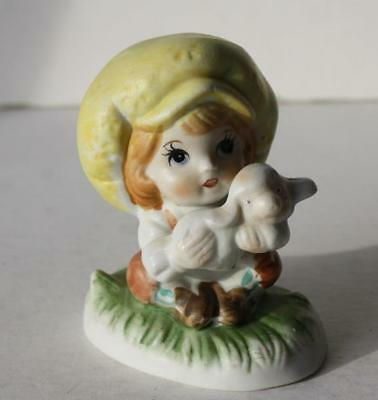 Little Boy Ceramic-Porcelain Figurine with a Large Yellow Hat Holding  Lamb-CUTE