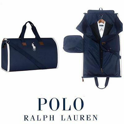 POLO RALPH LAUREN Zip-Up DUFFLE GARMENT Bag NAVY 2-in-1 DUFFEL Carry-On NWT!