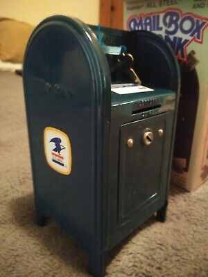 Vintage Us Post Office Blue Metal Coin  Bank Mailbox With Key & Original Box.