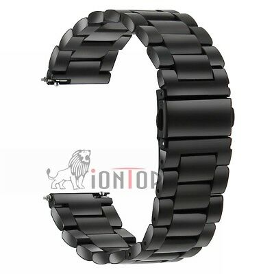Black Replcement Stainless Steel Watch Band Strap For Samsung Galaxy Watch 46mm