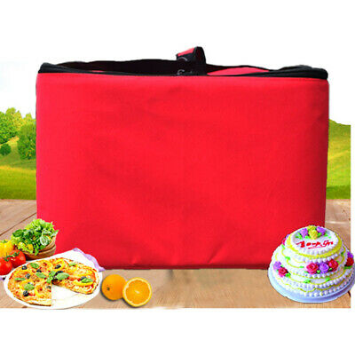 Portable Pizza Food Delivery Bag Red Black Thermal Insulated Oxford Cloth Zipper