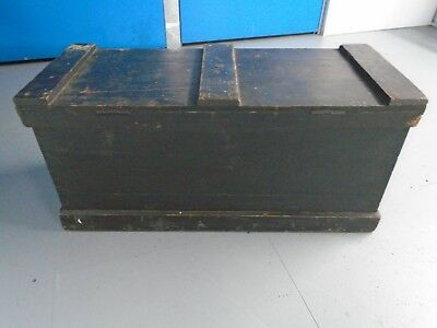 ANTIQUE Victorian PAINTED PINE BLANKET BOX TRUNK with 1893 newspaper lining