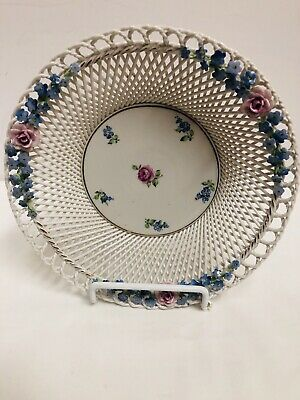 Beautiful  Porcelain Ornate Dresden Style Germany Dish Flowers