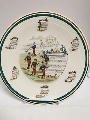 Beautiful Antique Porcelain Large Charger French Soldiers Playing Instruments
