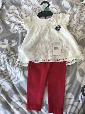 Baby Set Size 0-3 Mths Girl Red Leggings  Cream Lace Effect Top Bnwt