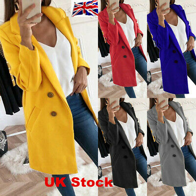 UK Womens Button Lapel Wool Jacket Overcoat Outwear Ladies Winter Wool Long Coat