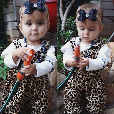 UK Newborn Baby Girl Leopard print Clothes Tops+Romper Jumpsuit Overalls Outfits