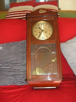 Antique German  Oak Case  Striking Wall Clock Bargain L@@K Complete w/order B32