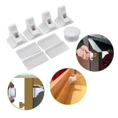 BU_ JN_ 4Pcs Child Baby Safety Magnetic Invisible Cabinet Drawer Cupboard Lock w