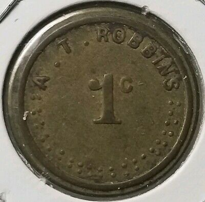 A.T. Robbins New Carlisle Ohio Ingle System 1c Trade Token