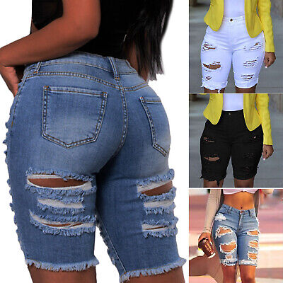 Women Destroyed Ripped Slim Fit Shorts Denim Jeans Stretch Summer Hot Midi Pant