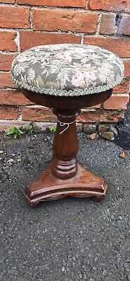 Antique Mahogany Upholstered Top Stool