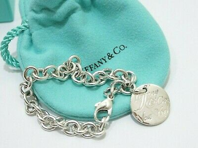 Tiffany & Co. Sterling Silver New York Round Disc Tag Charm Bracelet 7.5