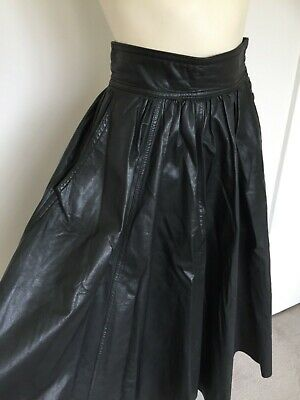 Women's Vintage 80s LEATHER Black High Waisted Flared Skirt XS