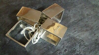 Four Square Heavy Silver Coloured Metal Napkin Rings