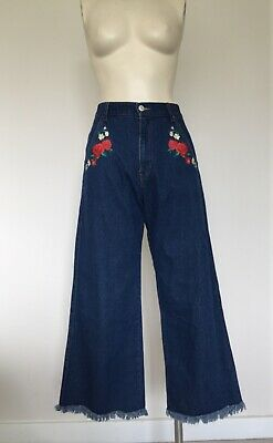 Women's Japanese Vintage High Waisted Wide Leg Crop Fray Jeans XS/S