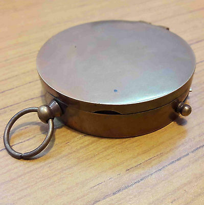 Antique Brass Vintage Pocket Lid Compass Floating Lock Marine Collectible Gift