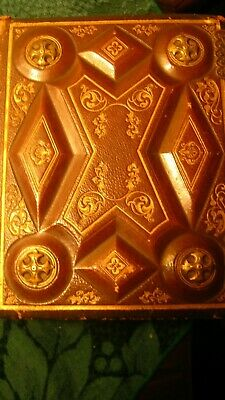 Antique Victorian Leather & Wood Album with 29 CVD Photo Cards, Missing 1 Hinge