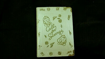 Vintage CALL FOR SAVINGS Baby Locking Book Coin Bank, No Key