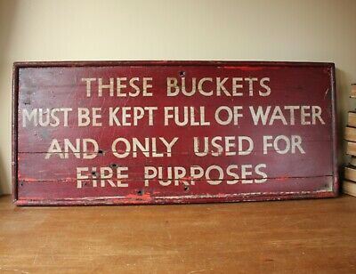 Large Decorative Vintage Railway Fire Bucket Wood Sign. Nottingham Train Station