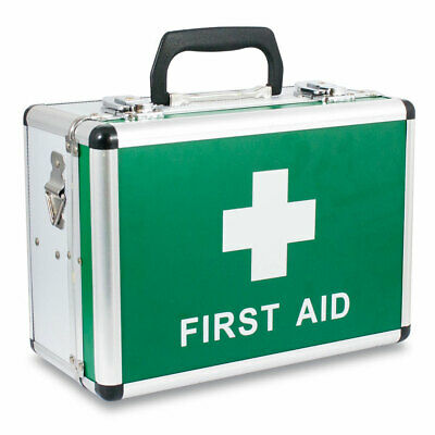 Anodised Aluminium First Aid Box - Lockable, Carry Strap, Wall Bracket, Lined