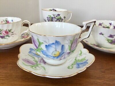 Mismatched English Bone China Tea Cups and Saucers Lot of 8 Tea Party