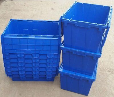Attached Lidded Crates 600x400x300 Plastic Containers (Pack of 4)