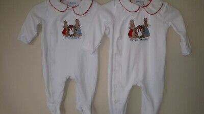 Jojo Maman  Bebe Peter Rabbit Babygrows 0-3mths & 3-6mths Used