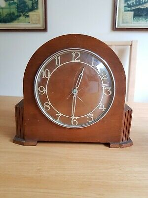 Vintage Wooden Mantel Clock for Parts or Repairs