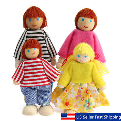 Wooden Furniture Dolls House Family Miniature 4 People Doll Toy For Child Xmas