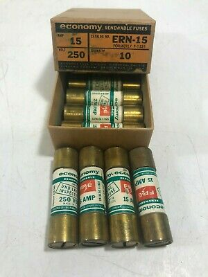 Economy 15amp Renewable Fuse, #ERN-15, New Old Stock - Lot of 9!