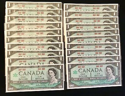* Canadian 1967 (1867 1967) series one dollar bill, bills bank notes Lot of 20
