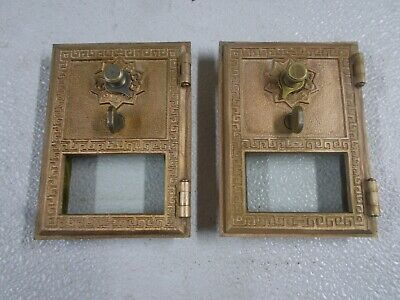 "2 Rare Inverted ""F""  Brass US Post Office PO Mail Box Door  Keyless Lock w/Combo"