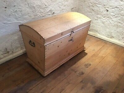 Large French Antique Solid Pine Victorian Chest / Blanket Box Domed Top