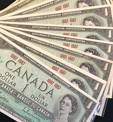 * Canadian 1967 (1867 1967) series one dollar bill, bills bank notes Lot of 9