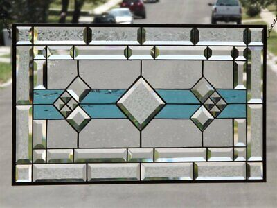 """Classic ( Turquoise Waters ) Beveled Stained Glass Window Panel 28 1/2""""x16 1/2"""""""