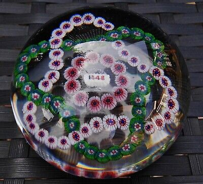 Large Baccarat Trefoil Complex Millefiori Lead Crystal Paperweight