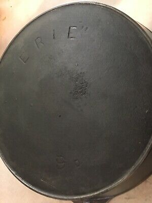 ERIE Pre-Griswold No 9 D Cast Iron Skillet Sits Flat No Warping !!