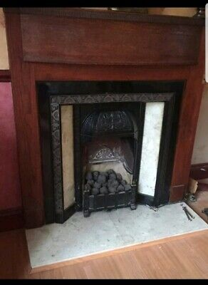 Cast Iron Black Antique Victorian Marble Tile Fireplace and wood surround 1930s