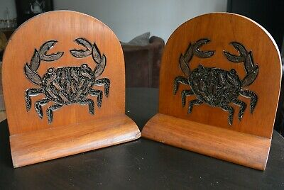 Stunning Very Large Edwardian Wooden Bookends with Carved Crab Decoration