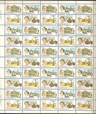 "879 to 882 17¢ ""Canadian Feminists"" Full Plate Sheet of 50 VFNH"