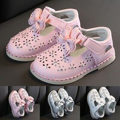 Toddler Infant Kids Baby Girl Cute Bowknot Crystal Fashion Princess Shoes AU