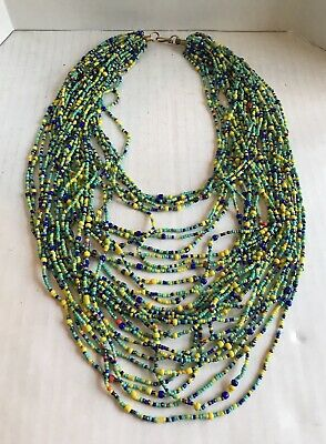 Multi Color Beaded Long Necklace Turquoise Coral 30 Strands