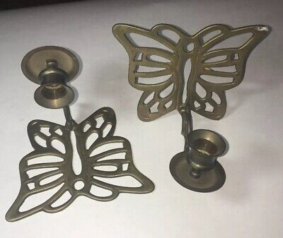 Vintage Pair Of Solid Brass Butterfly Candlestick Holder Wall Sconces