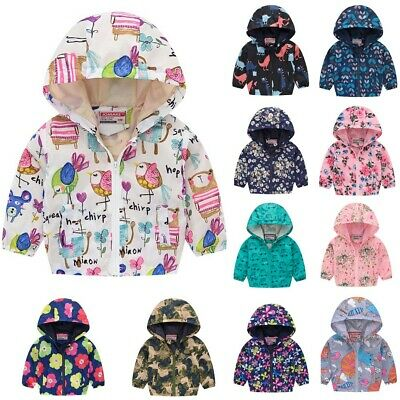 Kids Toddler Baby Boys Girls Long Sleeve Warm Print Zipper Hooded Coat Jacket AU