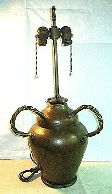 "Great Arts & Crafts Signed ""Mnd"" Belgium Hand Hammered Brass & Copper Table Lamp"