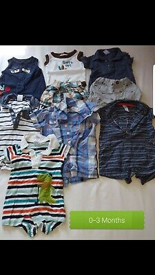 0-3 month boy clothes lot of 18 barley used
