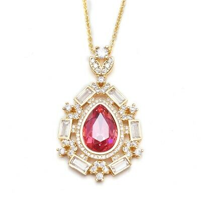 Red Teardrop Clear Cubic Zircon Gold Plated Lady Pendant Chain Necklace Jewelry